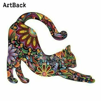 5D Diamond Painting Abstract Flower Stretching Cat Kit