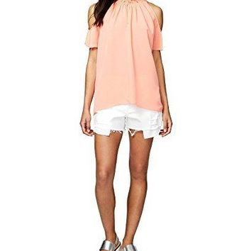 RACHEL Rachel Roy Vanessa High Neck Cold Shoulder Blouse Top