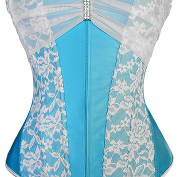 Atomic Clear Blue Sky Rhinestone Brooch Overbust Corset