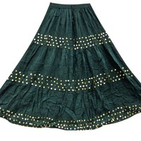 Hippie Skirt- Gypsy Boho Sequin Long Dark Green Skirts