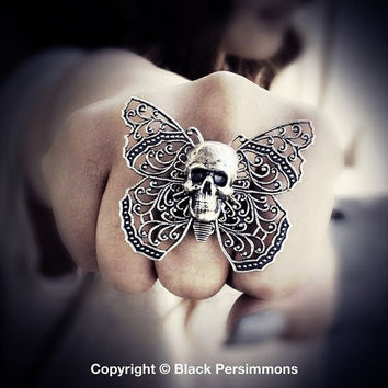 NEW - Yriyega No. 5 - Filigree Butterfly Skull Ring - Soldered Antique Sterling Silver Plated American Brass