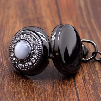ON SALE - Cat's Eye Gunmetal Vintage Style Mirror Pocket Watch Necklace