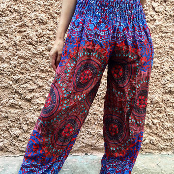 Hippie Harem Pants Boho Festival clothing Mandala Indian Beach Yoga pants Bohemian Vegan Summer Fashion Paisley Meditation Women men Gift