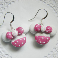 Minnie Mouse Earrings Kawaii Polymer FIMO Clay Earrings for Tweens Teens and Adults