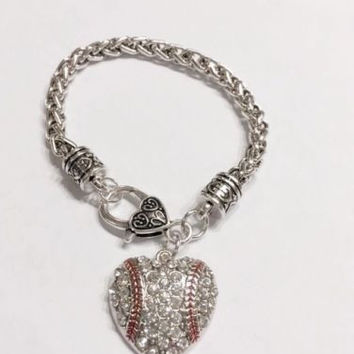 Crystal Baseball Heart Softball Mom Mother Gift Charm Bracelet