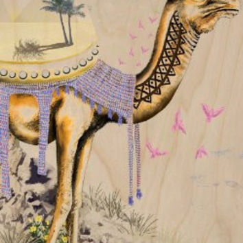 'Mystical Camel' Roaming Sahara Desert w/ Pyramids - Plywood Wood Print Poster Wall Art