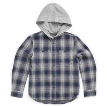 Vans Boys Portola Hooded Flannel Shirt (Navy Plaid)