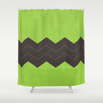 Lime Green and Dark Grey Chevron Shower Curtain by Kat Mun | Society6