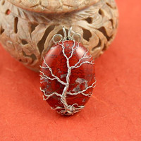 Brecciated Jasper silver-plated wire-wrapped Tree of Life pendant