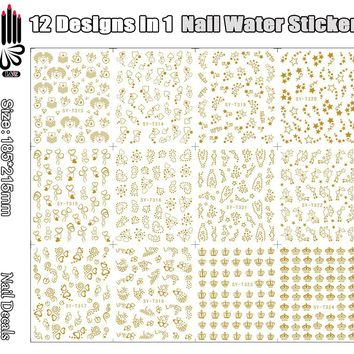 12 Sheets/Lot Nail Art Decoration T313-324 Mix Gold Crown Star Nail Art Water Sticker Decal for Nail Art Tip(12 DESIGNS IN 1)