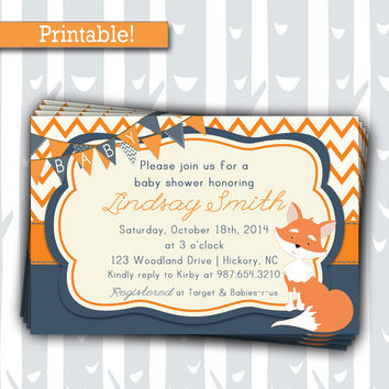 Cute Fox Baby Shower Invitation | Woodland Animals Shower Invite | Digital Orange & Blue All Occasion Chevron Invite