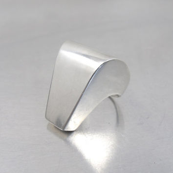 Vintage S'PALIU Sterling Modernist Ring, Sculptural Abstract Freeform Space Age Joachim S'Paliu Spain Jewelry, Knuckle Statement Ring Size 6