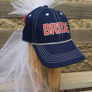 Bride baseball cap with veil custom baseball theme Bachelorette party/bridal shower Bride to be Hat