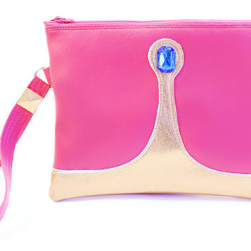 Princess Zipper Clutch Bag With Wristlet | Adventure Time Princess Bubblegum Inspired Purse | Geek Chic