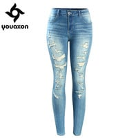 2074 Youaxon Women`s Brand New Fashion Mid High Waist Stretch Vintage Wash Ripped Skinny Denim Pants Jeans For Women