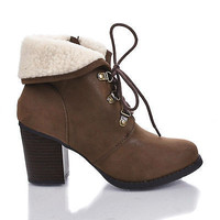 Creason Round Toe Lace Up Faux Lamb Fur Ankle Cuff Block Heel Booties