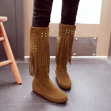 Big size 34-45 women boots fashion Rivets Round Toe Mid-Calf boots Slip-On Height Increasing Winter Tassel boots women shoes