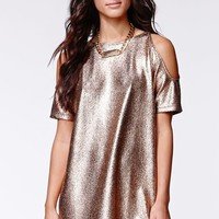 Motel Rocks Foil Savannah Dress - Womens Dress - Rose Gold