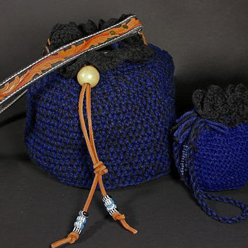 Crochet Drawstring Bag Blue Color with Hand Tooled Leather Strap and Small Drawstring Bag.