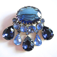 Blue Rhinestone Glass Brooch Tear Drop Dangles Vintage Silver Tone