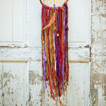 Bohemian Gypsy Dreamcatcher, Hippie Decor, Fair Trade, Red, Purple, Yellow, Boho Home Decor, Wall Hanging, Native American Wall Art