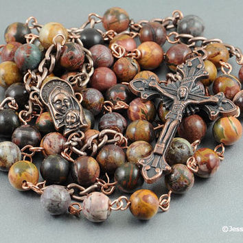 Wire Wrapped Rosary Red Creek Jasper Copper Catholic