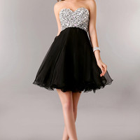 Strapless Sequins Beaded Short Homecoming Dress