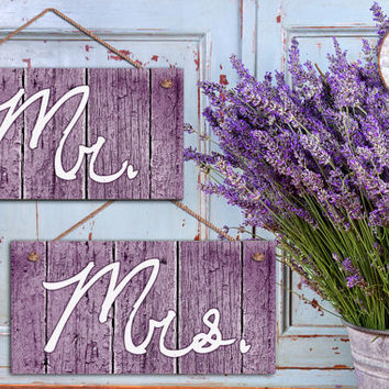 "Mr. and Mrs. Wedding Signs, Purple Distressed Wood Style, Rustic Signs, Weatherproof, 5"" x 10"" Sign, Wedding Chair Signs, Made To Order"