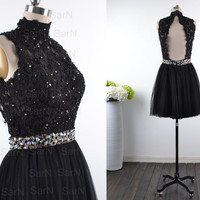 Homecoming Dresses, Custom Mini Black Lace and Tulle Prom Dresses, Mini Formal Dresses, Black Lace Mini Prom Gown