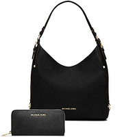 Michael Kors Women's New Fashion Large Leather Shoulder Bag+Jet Set Travel Saffiano Leather Continental Wallet Black