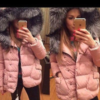 2016 Autumn Winter Hoodie Fluffy Fur Warm Cotton Cloak Coat Jacket Outerwear _ 8682