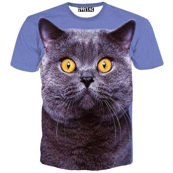 Grey British Shorthair Kitty Cat Print Graphic Tee T-Shirt for Women