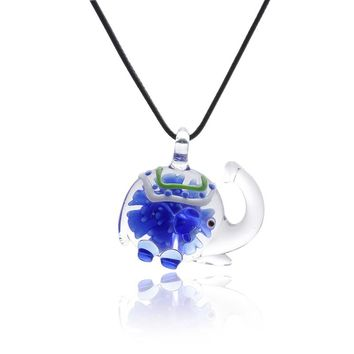 Blue Cute Elephant Glass Nekclace Art Lampwork murano glass Pendant Necklace with Flowers Inside for Women Jewelry Accessories