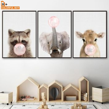 Elephant Cattle Raccoon Pink Bubble Wall Art Canvas Painting Nordic Posters And Prints Animal Wall Pictures Baby Kids Room Decor