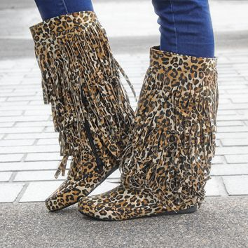 The Melissa Fringe Boots - Leopard