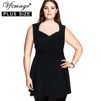 Vfemage (Plus Size) Womens Elegant Vintage Ruffle Draped Casual Work Office Party 5XL 6XL 7XL Sheath Top Blouse 2571