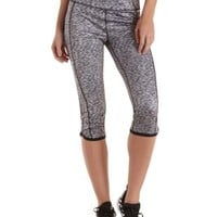 Black/White Space-Dye Active Capri Leggings by Charlotte Russe