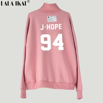 Bts Letter Print Women Turtleneck Hoodies Embroidery O-Neck Fashion Kpop Female Sweatshirt Harajuku Feminino Inverno SWI0316-45