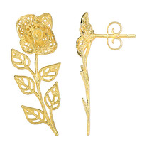 14K Yellow Gold Rose Flower With Leafs Drop Earrings