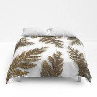 Golden Palm on White Comforters by Scott Hervieux