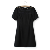 Rack Summer Lace See Through Mosaic Short Sleeve Black Sexy Skirt One Piece Dress [4917858628]