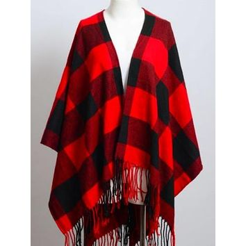 King Me Poncho | Red