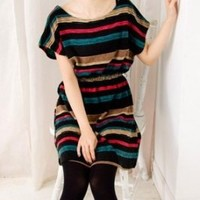 Newly Color Stripe Round Collar Slim Dress