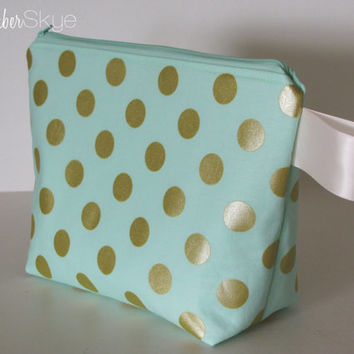 Mint and Gold Makeup Bag - Mint Lining - Cosmetic Case - Diaper Clutch - Small Purse