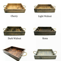 Made To Order Rustic Wooden Tray with Rope Handles - Custom Centerpiece Tray, Wedding Tray, Shower Tray, Ottoman Tray, Wood Serving Tray