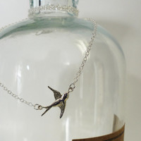 Necklace Sparrow Silver sweet small cute Birds Girly Gift Retro Bridal Old Hollywood