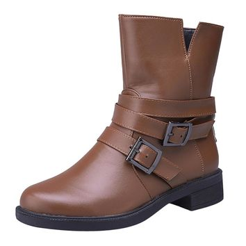 Women Flat Short Booties Buckle Strap Leather Martin Boots Shoes Ankle Boot