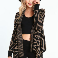 Glittering Shapes Knit Flyaway Cardigan - LoveCulture