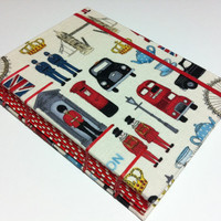 I Love London - Fabric Handmade Journal Notebook - Coptic Stitched