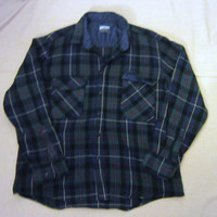 Vintage Amazing 70s PLAID FLANNEL OUTERWEAR Grunge Unisex Small Medium Cozy Stylish Wool Acrylic Button Up Shirt